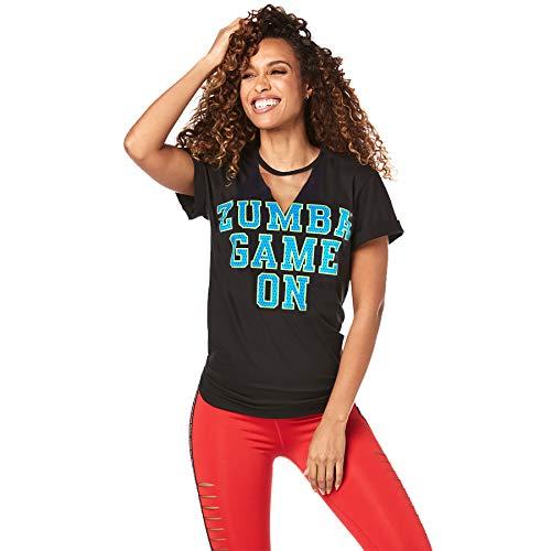 Zumba Athlétique Top Femme Coupe Ample Dance Fitness Vetements Sport Femme Haut d'Entraînement, Bold Black B, M