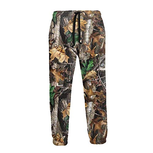 QUEMIN Camo Leaves Forest Camuflaje Moda para Hombre Jogger Pantalones Deportivos Pantalones Deportivos con Bolsillos L