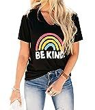 Blooming Jelly Camisetas para Mujer Be Kind Rainbow Camiseta Gráfica Cuello Redondo Manga Corta Casual Tops de Verano