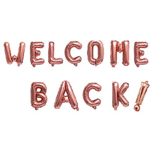 Xidmold 16 Zoll Welcome Back! Banner Willkommen Zurück Briefe Ballon Bunting Helium Buchstaben Folienballons Mylar Ballons für Haus Familie Party Dekoration, Back to School Supplies (Rosegold)
