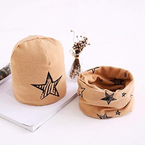 XCLWL Beanie dames muts kinder hoeden katoen Star Print baby muts kap voor meisjes jongens wintermuts sjaal set Kids Caps 3 maanden tot 8 jaar bruin 3-6 maanden