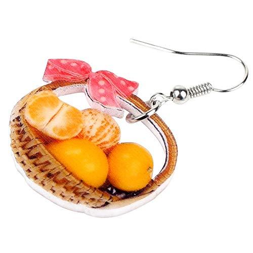 XUBB - Bonita cesta acrílica de pendientes de fruta naranja gota joyas alimentarios para accesorios regalo Teenager niña mujer