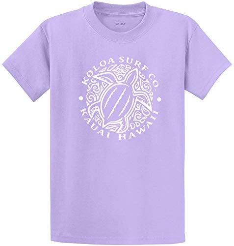 Koloa Surf Hawaiian Turtle Front Logo Heavyweight Cotton T-Shirt-XL-Lavender/w