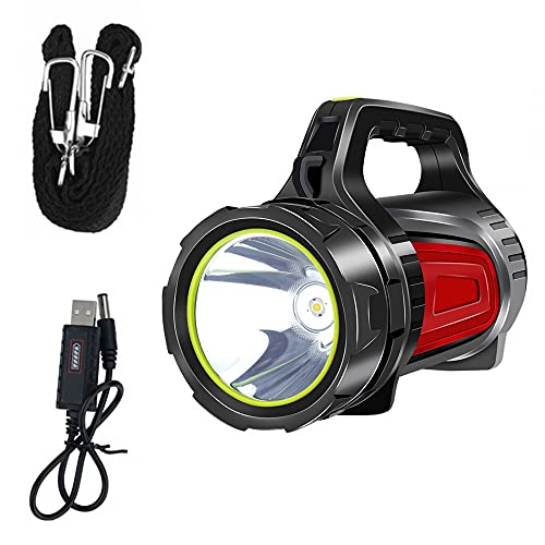 MiOYOOW Luz LED de búsqueda, 1000LM Camping Spotlight XPG LED linterna recargable impermeable linterna con mango portátil para senderismo Pesca