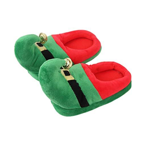 Zapatillas de Navidad de felpa verde cálido zapatillas con campana antideslizante en zapatos de felpa para interior y exterior