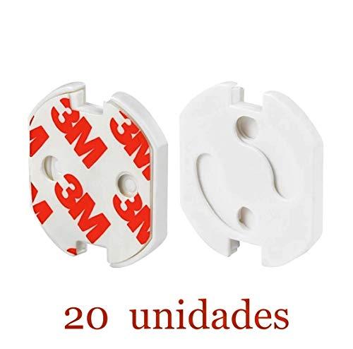 [20 Unidades] Protector Enchufes Seguridad Infantil Con Mecanismo De Giro Y Adhesivo...