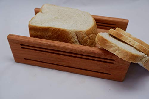 3/8+1/2+3/4 Inch Slice Thickness Oak Horizontal Bread Slicing Guide Anti Slip Mat Protective Oil Finish FREE SHIPPING Hand Crafted by Mystery Lathe
