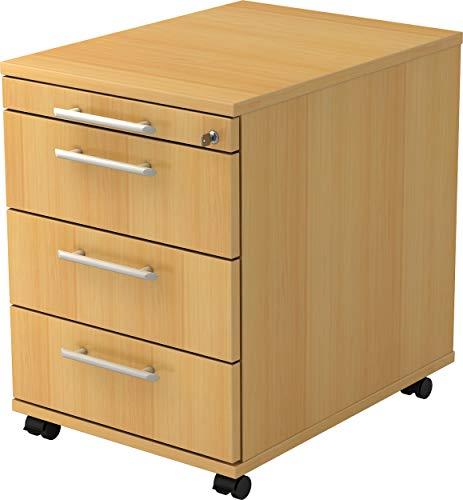 bümö® Rollcontainer mit 3 Schüben & Schloss | Bürocontainer aus Holz | Tischcontainer mit Rollen | in 6 Dekoren (Buche)