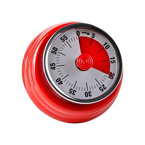 Jayron Kitchen Timer Erinnerung Timer Verwalten 360 Grad Rotierender Mechanischer Timer Backcountdown Küchenwecker Kühlschrank Magnetisch zum Kochen,Lernen (rot)