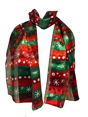 Pamper Yourself Now Rot und grün Streifen mit Schneeflocke-Design dünne hübsche Weihnachts-Schal. Schöne Weihnachten Schal(Red & Green striped with snowflake thin pretty Christmas Scarf)