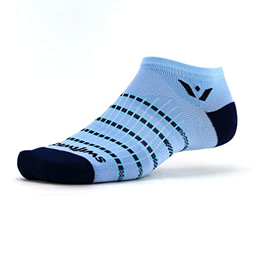 Swiftwick- ASPIRE ZERO Running Socks, Cycling Socks, Lightweight No-Show (Sky Blue/Navy, Medium)