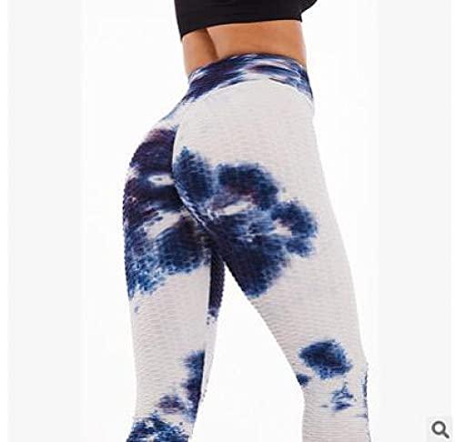 ArcherWlh Leggings Push Up Mujer De Vestir,Pantalones de Yoga Pantalones Fruncidos Levantamientos de Culo Pantalones de Colores Pantalones de Yoga-Azul y Blanco_Metro