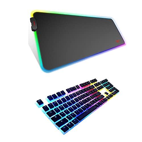Havit RGB Gaming Mouse Pad Soft Non-Slip Rubber Base Mouse Mat and Keycaps 60 87 104 Double Shot Backlit PBT Pudding Keycap Set