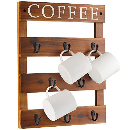13' x 17' Coffee Mug Holder, Wall Mounted Rustic Wood Cup Organizer with 8 Hooks for Home, Kitchen Display Storage and Collection (Walnut Color)
