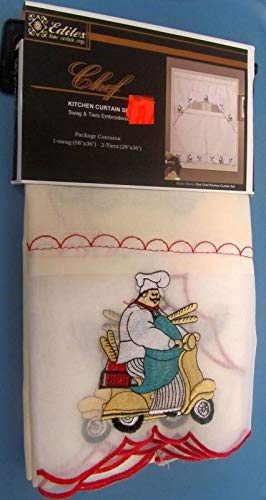 """THE RAISE Embroidered Curtain Set: 2 Tiers (28""""x36"""") & Swag, Fat Chef on Bike"""