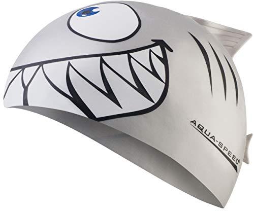 Aqua Speed Shark Gorro de natación + Toalla de Microfibra | niños | Gorras de baño Divertidos| tiburón | Silicona | Tiburón/Plata 26