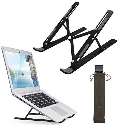 Baogaier Soporte Portátil Aluminio, Soporte para Ordenador Portátil Mesa 6 Ángulos Ajustable Plegable Ventilado Laptop Stand para Macbook, DELL, HP, Lenovo, Otros 10-15' Portátiles y Tabletas - Negro