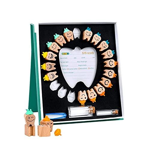Caja de Dientes de Leche de Madera Organizador para el Bebé, Colección de Dientes de Hoja Caduca Caja de Recuerdos para Mantener la Memoria de la Infancia, Inglés