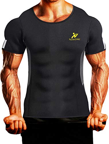 Mens Waist Trainer Vest Hot Sweat Shirt Body Shaper Neoprene Sauna Suit Workout Cami for WeightLoss Tummy Fat Loss Black