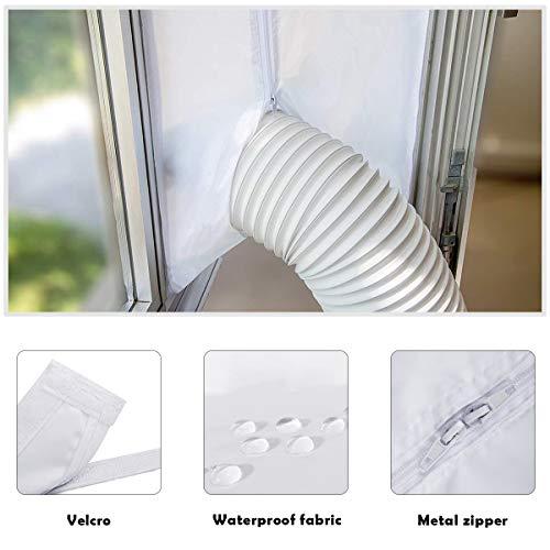 Manfore Fensterabdichtung Für Mobile Klimageräte und Abluft-Wäschetrockner,400 cm,Klettverschluss und Reißverschluss-Design,Leicht Zu Installieren, Kein Bohren Erforderlich