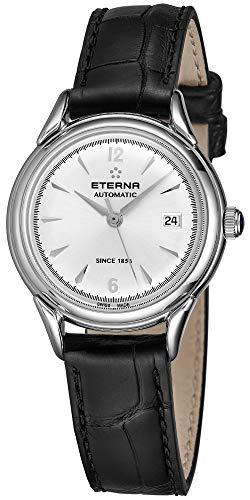 Eterna Lady Damen Uhr analog Automatik mit Leder Armband 2956.41.13.1389