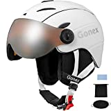 Gonex Ski Helmet with Goggles - ASTM Certified Safety - Winter Windproof Skiing Snowboard Snow Helmet for Men, Women, Youth - Accessories Included (Matte White, M)