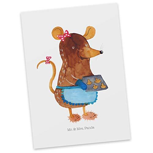 Mr. & Mrs. Panda uitnodiging, kaart, Ansichtkaart muiscookies - Kleur Wit