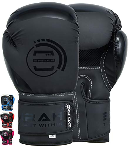 EMRAH Charged V-2 Boxhandschuhe Muay Thai Training Sparring Boxsack Mitts Kickboxen Kämpfen Boxing Gloves (Mattschwarz, 12 oz)