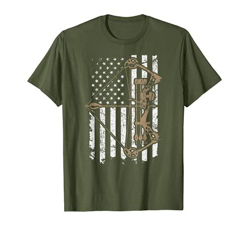 Camo USA Flag Archery Compound Bow - Funny Bow Hunter Olive T-Shirt
