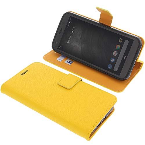 foto-kontor Tasche für CAT S52 Book Style gelb Schutz Hülle Buch