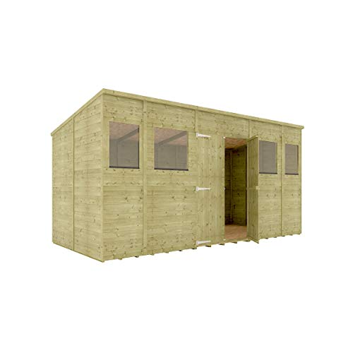 14 x 6 Pressure Treated Hobbyist Pent Shed Tongue & Groove Shiplap Cladding Construction Central Door OSB Floor Wooden Garden Shed 4.26m x 1.82m