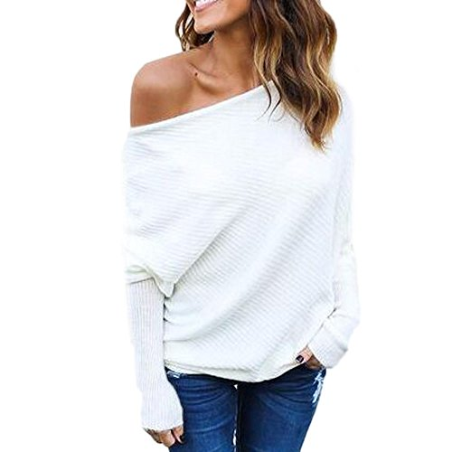 VJGOAL Moda Casual de Mujer Fuera de Hombros Tops Sexy Suelta Batwing Manga Larga de Camisa suéter(S,Blanco)
