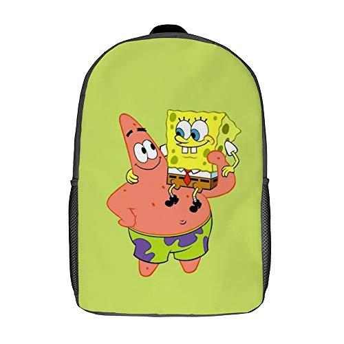 Piester & Spongebob Together Rucksack Schulranzen Reisetasche Business-Tagesrucksack für Männer Frauen Teenager Schule College 17 Zoll