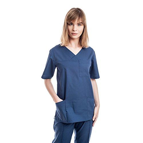 Azul Marino Uniformes Sanitario Pijama Mujer - 7 Tamaños A Medida Xs-3xl - Úsalo como Medico, Enfermera, Peluqueria, Veterinario, SPA, Fisioterapeuta Uniforme O De Trabajo Limpieza, Casaca Estetica