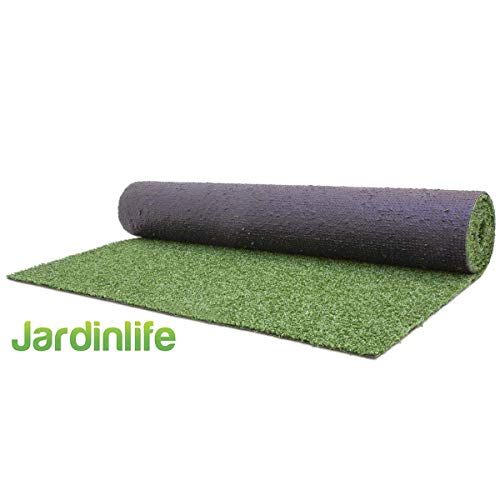 JARDINLIFE Moqueta Césped Artificial Rollo 1x5 m de 7 mm para Exterior e Interior, Niños y Perros. Varias medidas de rollos, ideal para decorar suelos terraza, vallas de jardin, cercas de piscinas.