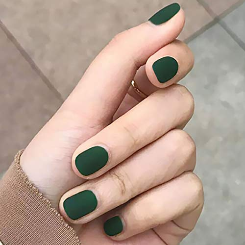 Easedaily Square Fake Nails Green Matte Press on Nails False Nails Short Full Cover Nails for Women and Girls