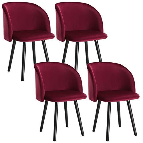 WOLTU 4 x Esszimmerstühle 4er Set Esszimmerstuhl Küchenstuhl Polsterstuhl Design Stuhl mit Armlehne, mit Sitzfläche aus Samt, Gestell aus Massivholz, Bordeauxrot, BH121bd-4