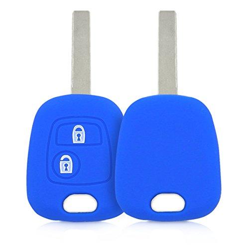 kwmobile Funda de Silicona Compatible con Peugeot Citroen Llave de Coche de 2 Botones - Carcasa Suave de Silicona - Case Mando de Auto Azul