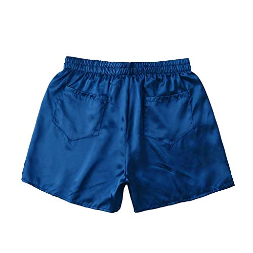 SoeHir Men Solid Pocket Sleepwear Homewear Underwear Pajama Short Pants Dark Blue
