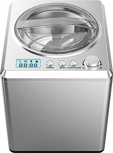 Melissa 16310193 Eismaschine mit Kompressor 2 Liter Speiseeis Edelstahl 180 Watt Timer LED 30 Minuten Eis fertig