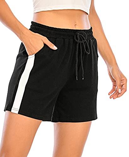 Pantalones Cortos Algodón Deportivos para Mujer Entrenamiento Yoga Verano para Hacer Ejercicio Trotar Gimnasio Pijamas Interior Casual Suelto Elástico con Banda