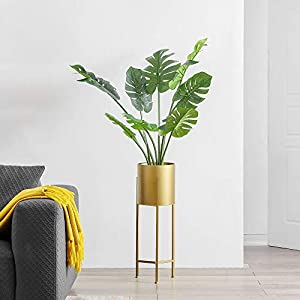Silk Flower Arrangements Cozy Castle Artificial Monstera Deliciosa Tree 35in, Fake Tropical Palm Tree in Pot, 8 Leaves Faux Swiss Cheese Plant, Fake Tree for Indoor Outdoor Home Office Garden Decoration, Evergreen Faux Plants