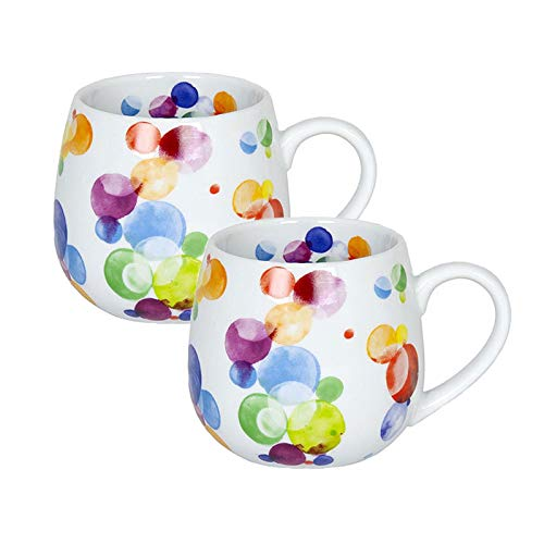 Könitz Porzellan Tassen Set Colourful Cast - Bubbles 2 teilig 400 ml Kaffeetassen Teetassen schönes Becherset