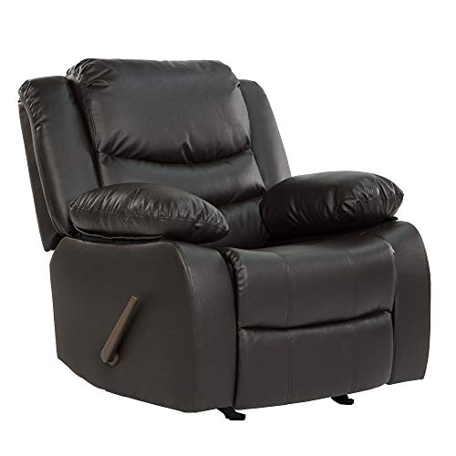 Casa Andrea Milano llc Rocker Recliner Living Room Chair in Bonded Leather, Brown