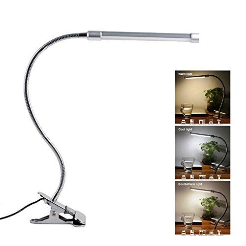 Qooltek LED Desk Lamp Clip on Light Book Reading Lights with 3 Lighting Model 10-Level Dimming for Bed Headboard,Table,Task Lighting