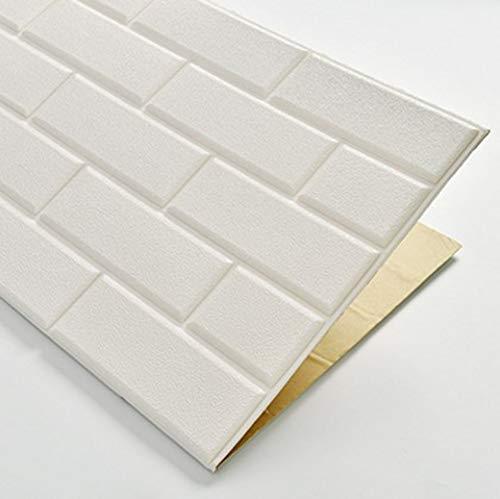 JXBoos 3D Selbstklebend Wandpaneele, Backstein-Muster 3D wandsticker Dekorative tapeten Wasserdicht Anti-kollision 3D schaumfolie-Weiß 70x77cm(28x30inch)