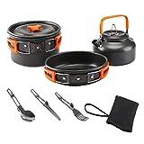 Estufa De Picnic Al Aire Libre Conjunto De Cook Set De Picnic Fold Ultraligero Utensilios De Cocina Tetera Pan 2-3 Personas para Camping Cocinar Naranja