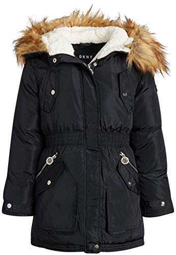 DKNY Girls' Winter Coat - Heavyweight Anorak Parka Jacket with Removable Faux-Fur Lined Hood, Black, Size 7/8