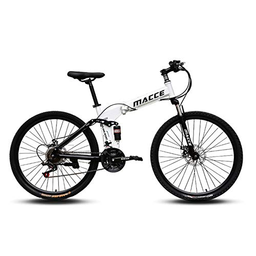 Bike Mountain Folding 26 Inch/21 Speed Adult Men And Women Off-road Racing Variable Speed Double Shock Absorption Student Bicycle Bicycle White Red Black Yellow