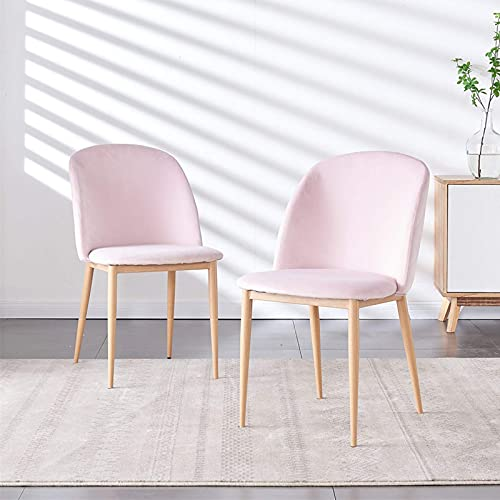 HYRGLIZI Velvet Dining Chair with Metal Legs, Set of 2 Grey Upholstered Seat and Backrest Tub Dressing Table Chairs, Living Room Lounge Reception Restaurant Lounge Table Side Chairs (Q-Pink)